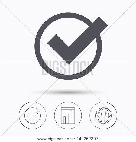Tick icon. Check or confirm symbol. Check tick, graph chart and internet globe. Linear icons on white background. Vector