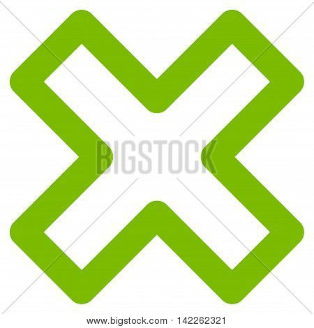 Delete X-Cross vector icon. Style is linear flat icon symbol, eco green color, white background.