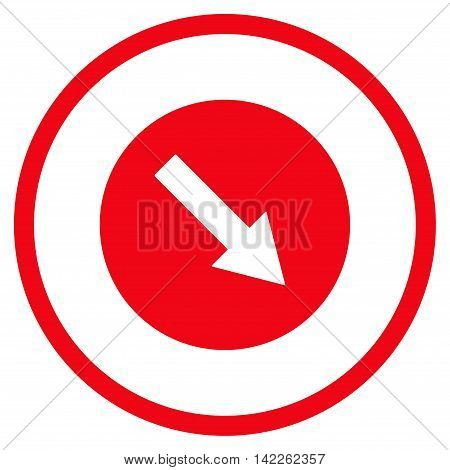 Down-Right Rounded Arrow vector icon. Style is flat rounded iconic symbol, down-right rounded arrow icon is drawn with red color on a white background.