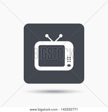 TV icon. Retro television symbol. Gray square button with flat web icon. Vector