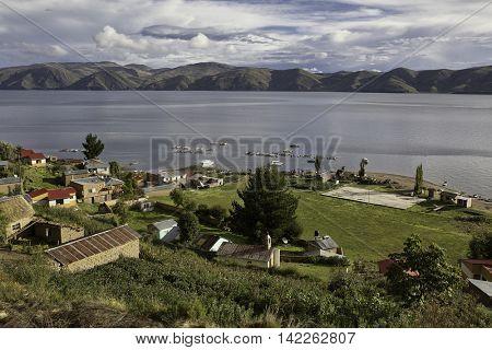 Village on Isla de la Luna Bolivia. A small island in lake Titicaca, a beautiful travel and tourism destination