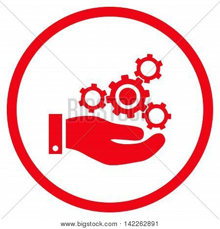 Mechanics Service vector icon. Style is flat rounded iconic symbol, mechanics service icon is drawn with red color on a white background.