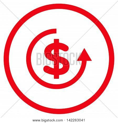 Refund vector icon. Style is flat rounded iconic symbol, refund icon is drawn with red color on a white background.
