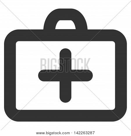 First Aid vector icon. Style is contour flat icon symbol, gray color, white background.