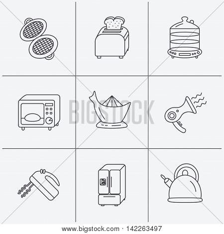 Microwave oven, teapot and blender icons. Refrigerator fridge, juicer and toaster linear signs. Hair dryer, steamer and waffle-iron icons. Linear icons on white background. Vector