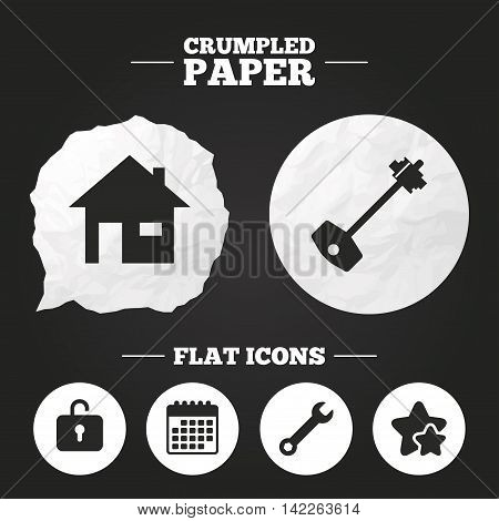Crumpled paper speech bubble. Home key icon. Wrench service tool symbol. Locker sign. Main page web navigation. Paper button. Vector