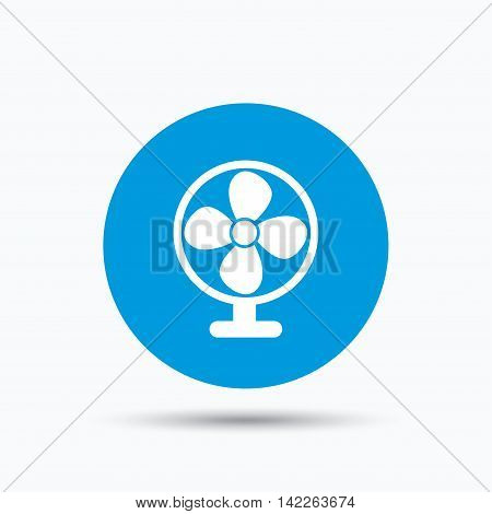 Ventilator icon. Air ventilation or fan symbol. Blue circle button with flat web icon. Vector