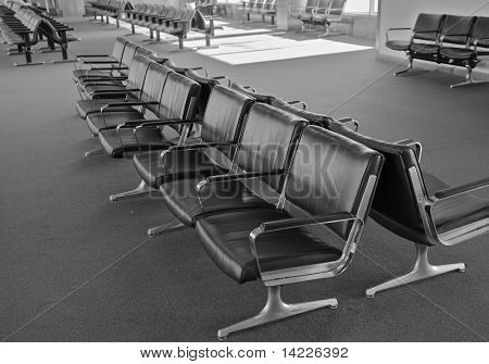 Airport  Chairs Bw