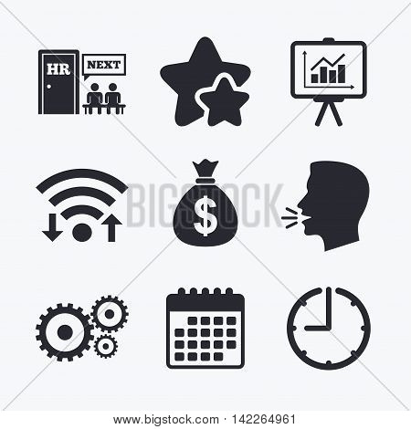 Human resources icons. Presentation board with charts signs. Money bag and gear symbols. Man at the door. Wifi internet, favorite stars, calendar and clock. Talking head. Vector