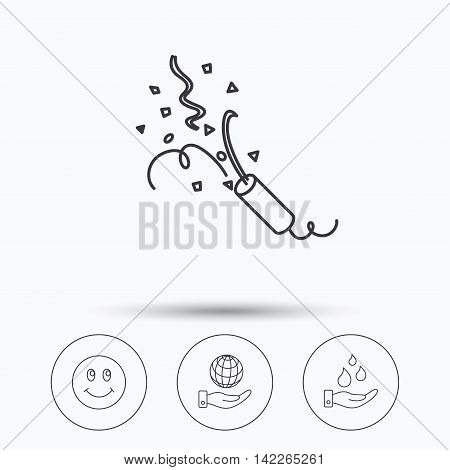 Save water, save planet and slapstick icons. Smiling face linear sign. Linear icons in circle buttons. Flat web symbols. Vector