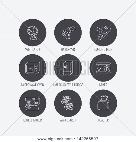 Microwave oven, hair dryer and blender icons. Refrigerator fridge, coffee maker and toaster linear signs. Ventilator, curling iron and waffle-iron icons. Linear icons in circle buttons. Flat web symbols. Vector