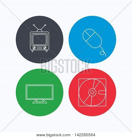 Hard disk, pc mouse and retro tv icons. Widescreen TV linear sign. Linear icons on colored buttons. Flat web symbols. Vector