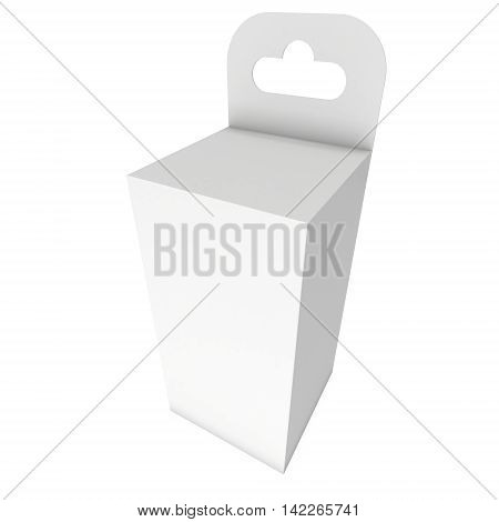 White paper hanging box. Packaging container with hanging hole. Mock up template. 3d render isolated on white background.
