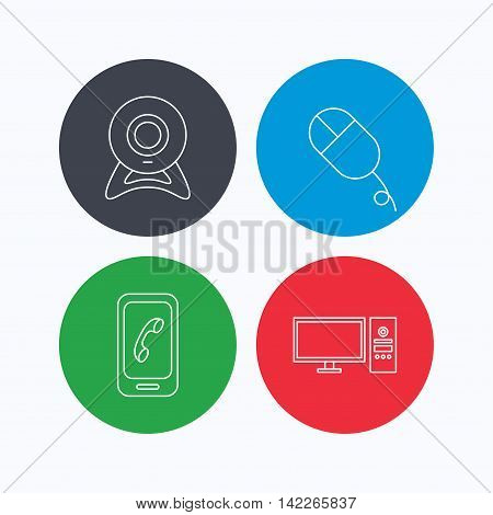 Computer, web camera and mobile phone icons. PC case linear sign. Linear icons on colored buttons. Flat web symbols. Vector