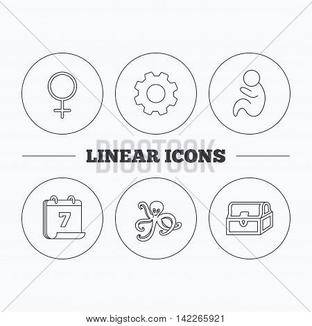 Female, treasure chest and pediatrics icons. Octopus linear sign. Flat cogwheel and calendar symbols. Linear icons in circle buttons. Vector