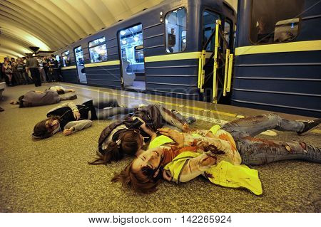 Saint-Petersburg Russia - August 12 2016: Integrated special tactical exercises in the aftermath of the subway. The extras playing the wounded during a terrorist attack.