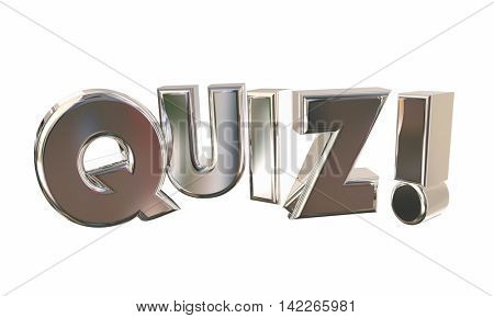 Quiz Test Surprise Contest Questions Game Word 3d Illustration