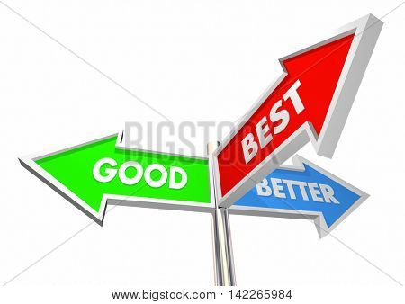 Good Better Best Three Road Street Sign Choices 3d Illustration