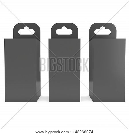 Black paper hanging box group. Packaging container with hanging hole. Mock up template. 3d render isolated on white background.