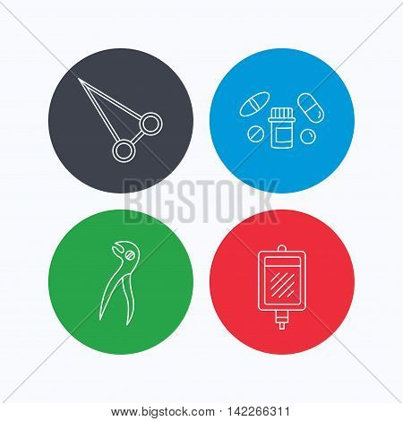 Medical pills, blood and dental pliers icons. Peans forceps linear sign. Linear icons on colored buttons. Flat web symbols. Vector
