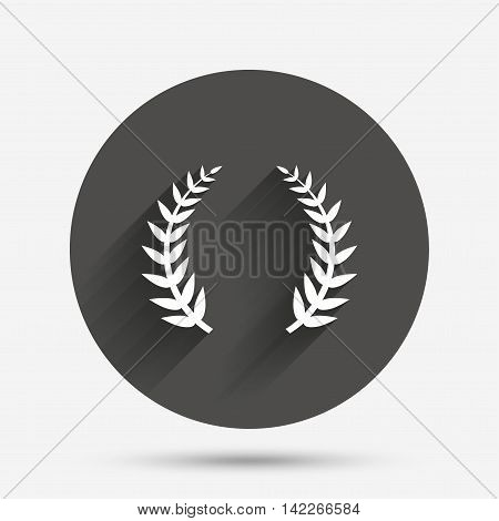 Laurel Wreath sign icon. Triumph symbol. Circle flat button with shadow. Vector