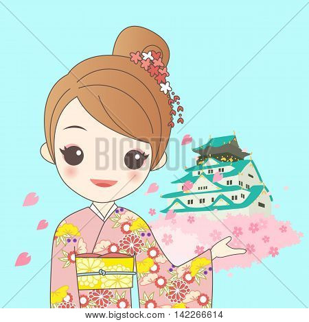 japanese girl is wear kimono with cherry blossom or sakura and Japan castle