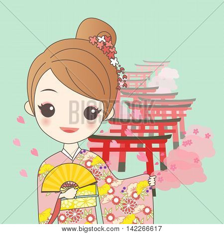 japanese girl is wear kimono with cherry blossom or sakura and Torii gates in Fushimi Inari Shrine