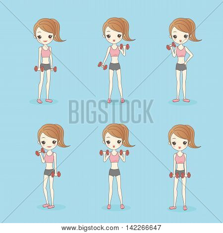 cartoon girl in fitness show dumbbell to you