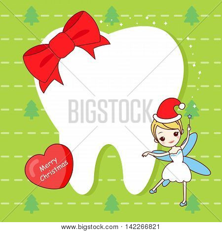 christmas card with cute cartoon tooth and tooth fairy
