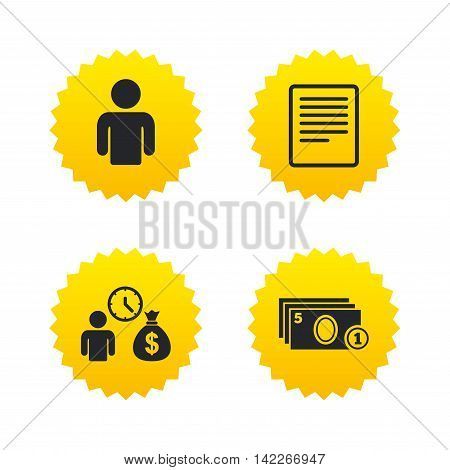 Bank loans icons. Cash money bag symbol. Apply for credit sign. Fill document and get cash money. Yellow stars labels with flat icons. Vector