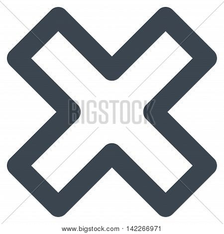 Delete X-Cross vector icon. Style is outline flat icon symbol, smooth blue color, white background.