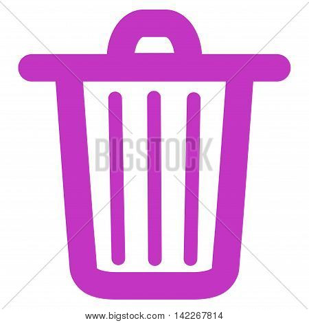 Trash Can vector icon. Style is contour flat icon symbol, violet color, white background.