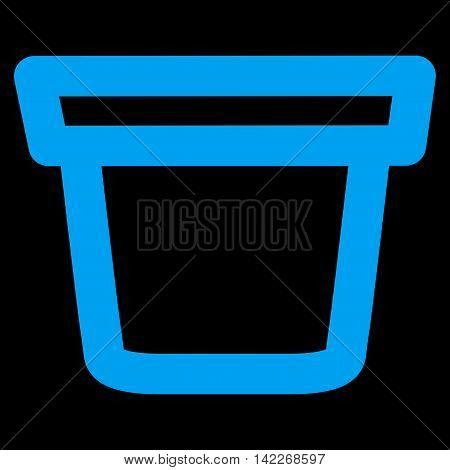 Pail glyph icon. Style is linear flat icon symbol, blue color, black background.