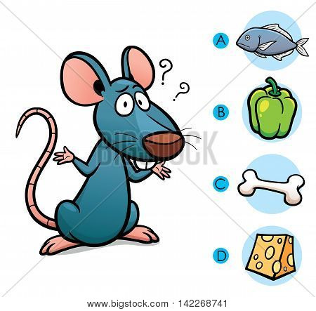 Vector Illustration of make the right choice connect animal with their food - Rat