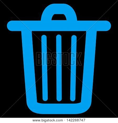 Trash Can glyph icon. Style is linear flat icon symbol, blue color, black background.