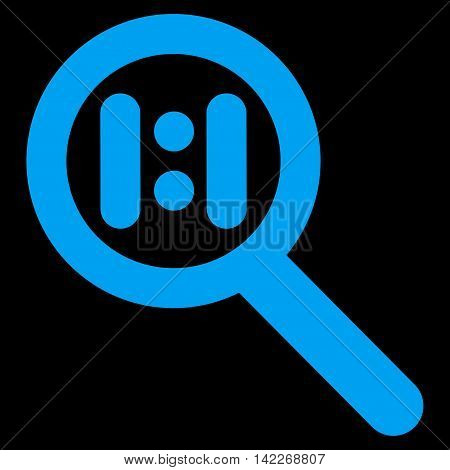 Zoom Actual Scale glyph icon. Style is contour flat icon symbol, blue color, black background.
