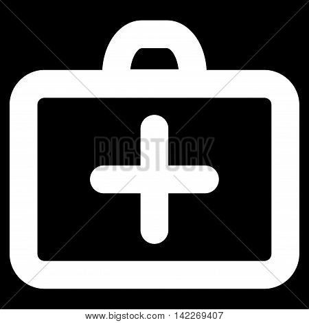 First Aid glyph icon. Style is contour flat icon symbol, white color, black background.