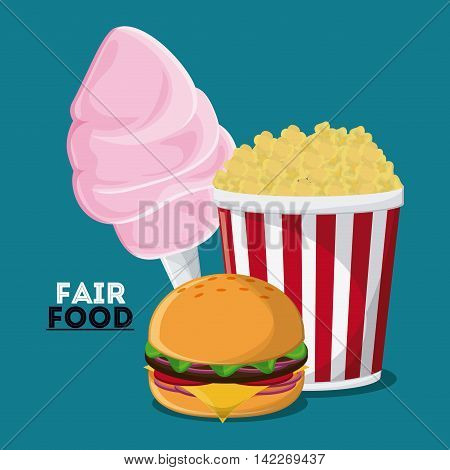 cotton candy hamburger pop corn fair food snack carnival festival icon. Colorfull illustration. Vector graphic