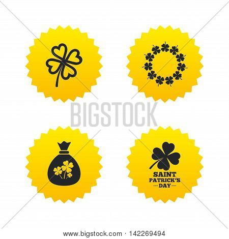 Saint Patrick day icons. Money bag with clover sign. Wreath of quatrefoil clovers. Symbol of good luck. Yellow stars labels with flat icons. Vector