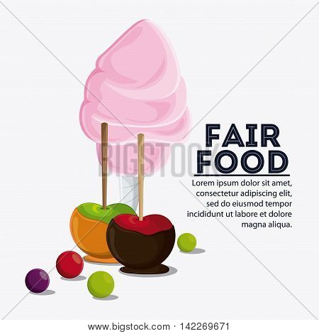 apple cotton candy fair food snack carnival festival icon. Colorfull illustration. Vector graphic