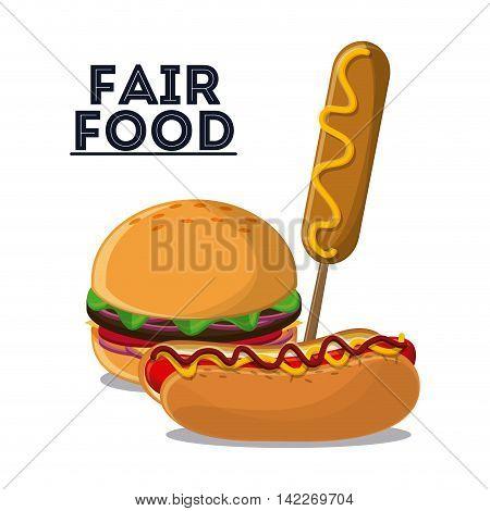 hot dog hamburger corn dog fair food snack carnival festival icon. Colorfull illustration. Vector graphic