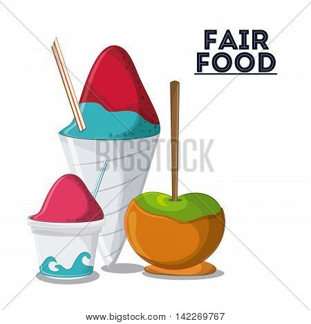 ice cream apple fair food snack carnival festival icon. Colorfull illustration. Vector graphic