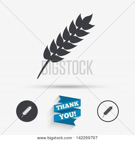 Gluten free sign icon. No gluten symbol. Flat icons. Buttons with icons. Thank you ribbon. Vector
