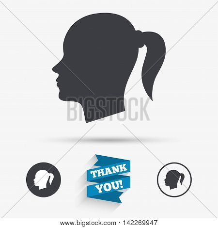 Head sign icon. Female woman human head with pigtail symbol. Flat icons. Buttons with icons. Thank you ribbon. Vector