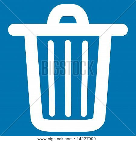 Trash Can glyph icon. Style is contour flat icon symbol, white color, blue background.
