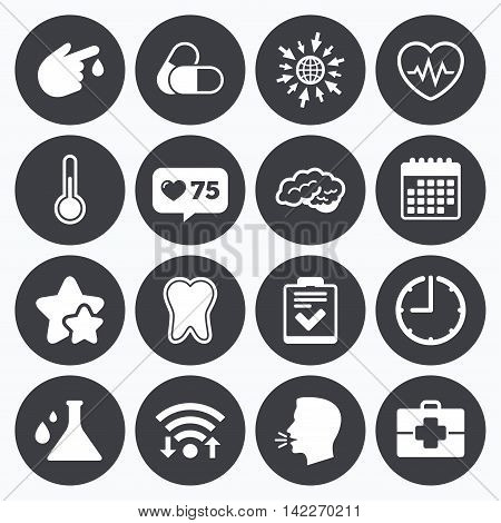 Calendar, wifi and clock symbols. Like counter, stars symbols. Medicine, healthcare and diagnosis icons. Tooth, pills and doctor case signs. Neurology, blood test symbols. Talking head, go to web symbols. Vector
