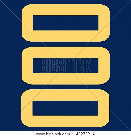 Database glyph icon. Style is stroke flat icon symbol, yellow color, blue background.