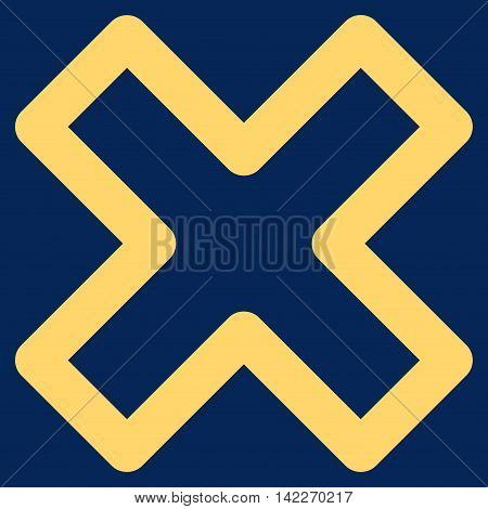 Delete X-Cross glyph icon. Style is outline flat icon symbol, yellow color, blue background.