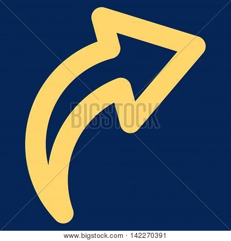 Redo glyph icon. Style is outline flat icon symbol, yellow color, blue background.