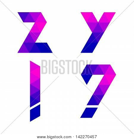 Series Of Geometric Letters Y, Z, Exclamation And Question Mark